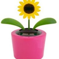 Solar Powered Plastic Sunflower Flip Flap Dancing Decoration (Assorted Colors) - 4-1/2""