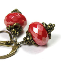 Victorian Style Earrings, Coral Red Antiqued Brass Dangle Earrings, Gifts for Her, Gifts for Mom, Fashion Jewelry, Czech Glass