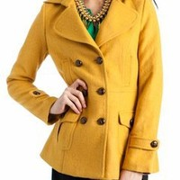 pocketed button peacoat jacket $57.50 in GREEN MUSTARD ORANGE - Outerwear | GoJane.com