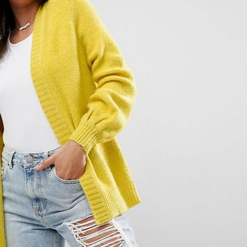 ASOS Chunky Cardigan with Volume Sleeves at asos.com