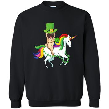 Leprechaun Pug Dog Riding Unicorn St Patricks Day  Printed Crewneck Pullover Sweatshirt