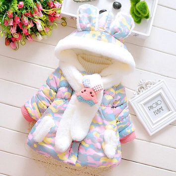 High Quality Baby Jackets Coat Autumn Winter Cotton Infant Coats &Outwear Cute Dot Toddler Kids Clothes Hooded Boy/Girl Clothing