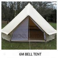 6M Canvas  Bell Tent  Waterproof Tipi Tent Diameter 19.7 Feets