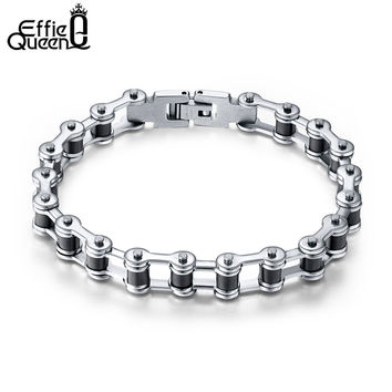 Effie Queen Top Quality Men's Motor Bike Chain Motorcycle Chain Bracelet Bangle Stainless Steel Jewelry with Silicone IB29