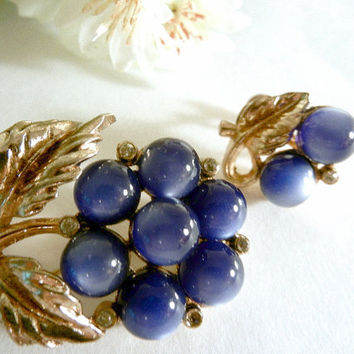 Coro Blue Moonstone Brooch and Earrings, Coro Pin, Signed Vintage Jewelry Set