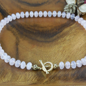 Vermeil Rose Quartz Gemstone Toggle Necklace