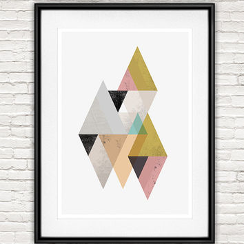 Triangle abstarct print, watercolor art, geometric wall art, Scandinavian art, Minimalist print, pastel colors,  Mid century modern, retro