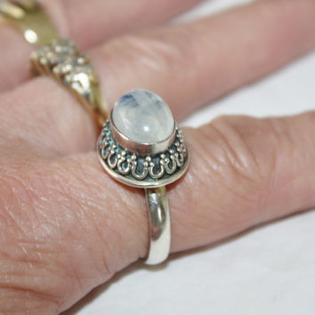 Sterling Ring Labradorite Cocktail Vintage 1960s Engagement Jewelry