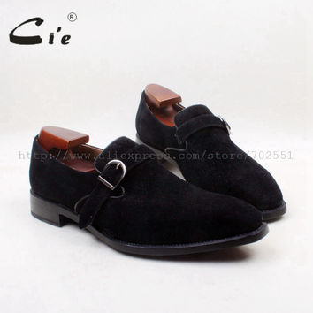 Square Toe 100% Genuine Leather Bespoke Upper Insole Out sole Custom Handmade Black Suede with Buckle Men's Shoe
