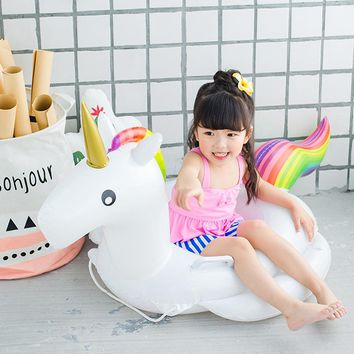 Baby Swimming Ring Unicorn Seat Inflatable Pool Float Baby Summer Water Fun Pool Toy Kids