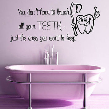 Wall Decals Kid Tooth Words Brush Teeth Vinyl Sticker Mural Bathroom Decor KG613