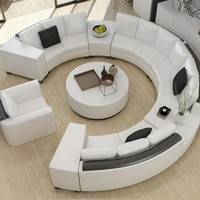 Modern curved top grain round leather sofa  living room