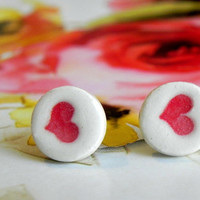 Porcelain Stud Earrings Red Heart Geometric Ceramic Hypoallergenic Posts 1/2'' Circle Earrings