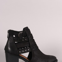 Qupid Distressed Suede Perforated Strap Western Booties