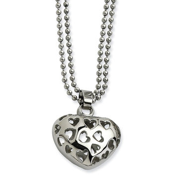 Stainless Steel Puffed Heart w/ Heart Cutouts 22in Necklace SRN600