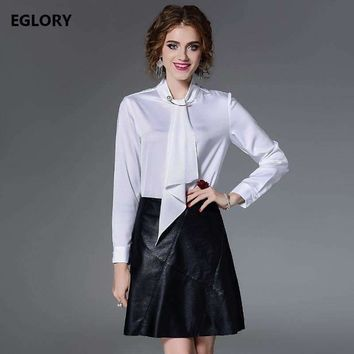 women tops and blouse fashionable women pearl beading bow tie long sleeve white red shirts big sizes