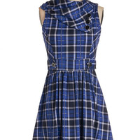 ModCloth Scholastic Mid-length Sleeveless A-line Coach Tour Dress in Blue Plaid