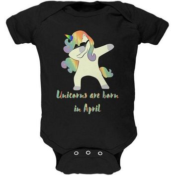 PEAPGQ9 April Birthday Dabbing Unicorn Sunglasses Soft Baby One Piece