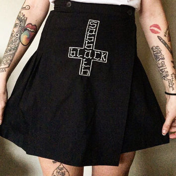 Black Sabbath - hand embroidered pleated skirt.