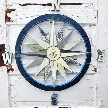 Blue Nautical Compass Art, Reclaimed Wood Art, Beach House Decor, Nautical Nursery Art, Mariners Compass, Wood Wall Compass, Coastal Decor