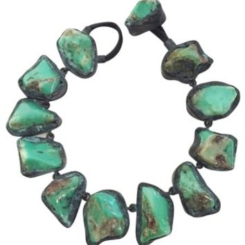 MONIES Turquoise Stone and Leather Necklace