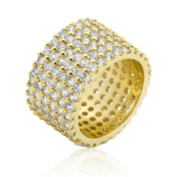 Tina Wide Paved Eternity Gold Band Ring | 22ct | Cubic Zirconia | 18k Gold