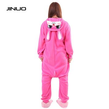 Women Adults Animal Rose Red Lovely Rabbit Footed Pajamas