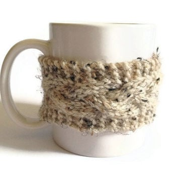 Beige Mug Cozy Coffee Cozy Coffee Sleeve Cup Cozy Cable Knit in Oatmeal