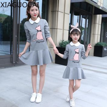 XiaGuoCai Autumn Family Matching Outfits Mother And Daughter girl dress Doll collar Cartoon pattern lovely clothes dress k129 35