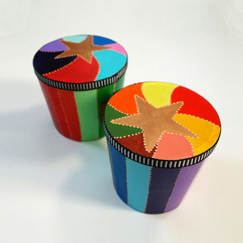 Hand Painted Rainbow Star Bongos
