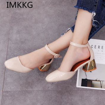 IMKKG 2017 fashion New style women shoes Mid heels women sandals female thick heel wo
