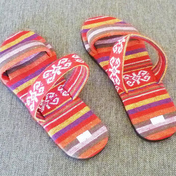 Red slippers Ethnic sandals Tribal slippers, hill tribe sandals House slippers ,unisex slippers ,slide sandals 519