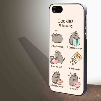 Pusheen cat cookies for iphone 4/4s/5/5s/5c/6/6+, Samsung S3/S4/S5/S6, iPad 2/3/4/Air/Mini, iPod 4/5, Samsung Note 3/4 Case **