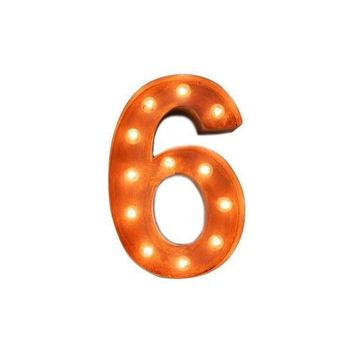 "12"" Number 6 (Six) Sign Vintage Marquee Lights"
