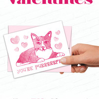 Cat Valentines Day Card, Cute Cat Valentine, Illustrated Valentine, Hand Drawn Cat, Sweet Valentine Cards, Cat Pun Card, You're Purrfect