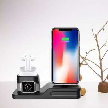 Henzarne 3 in 1 Charging Holder iPhone & Airpods & Apple Watch Silicone charging stand Dock Station