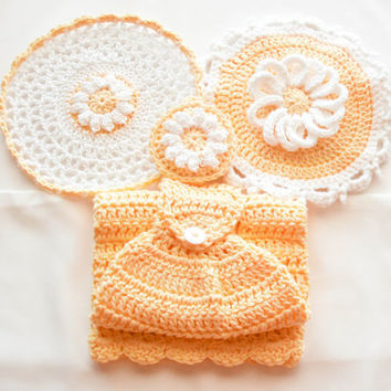 Yellow Daisy Kitchen Set - Crochet Cotton Hanging Towel - Daisy Pot Holder - Lace Washcloth - Daisy Reversible Dish Scrubbie