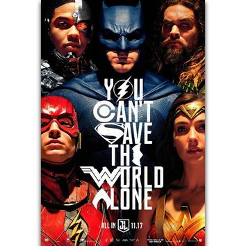 Batman Dark Knight gift Christmas S264 Justice League 2017 DC Hot Movie Batman Flash Superman Wall Art Painting Print On Silk Canvas Poster Home Decoration AT_71_6
