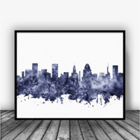 Baltimore Skyline Black Art Print Poster