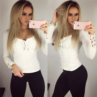 T Shirt Women clothes 2016 Fashion white Lace Long Sleeve Sexy T-Shirt Slim Casual Tops casual tee shirt camisetas mujer