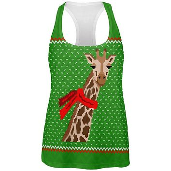 Ugly Christmas Sweater Big Giraffe Scarf All Over Womens Work Out Tank Top