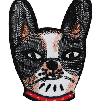 Large 12cm Boston Terrier Head Dog Patch