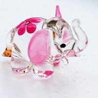 Dollhouse Miniatures Hand Blown Art Pink Elephant Flower FIGURINE Animals Decor