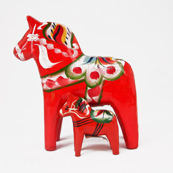 Vintage Dala Horse Nils Olsson Grannas Red Orange Wooden Swedish Folk Art Sweden Wood Home Decor Christmas Hand Painted Carved Mid-century