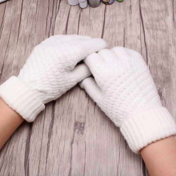 Winter-Warm Knit Gloves, White