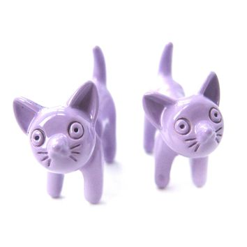 Fake Gauge Earrings: Adorable Kitty Cat Animal Plug Earrings in Light Purple