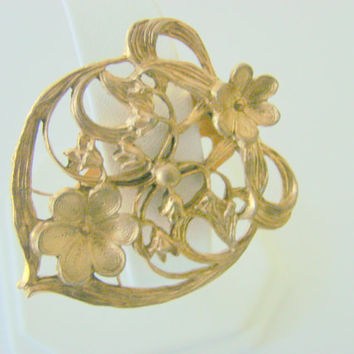 Art Nouveau Dress Clip (Floral Ribbon Bow Heart Motif)