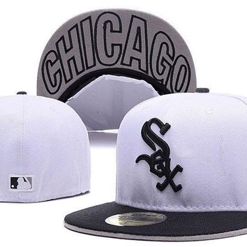 PEAPON Chicago White Sox New Era MLB Cap Americana Ultimate 59FIFTY White HAT