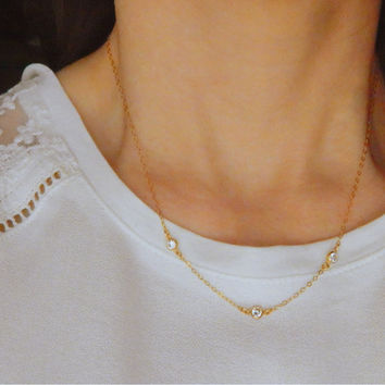 Gold necklace / Three diamonds necklace / wedding necklace / sideways diamond necklace / dainty gold necklace / gold filled