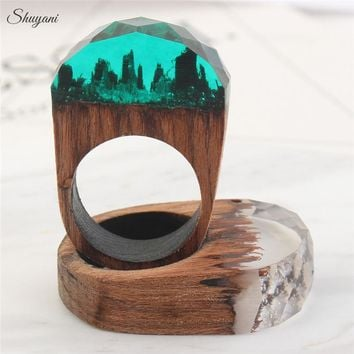 Rings For Men Women Ethereal Snow Scene Wooden Resin Customized Handmade Jewelry Magical